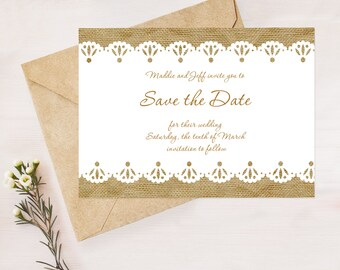 burlap and lace wedding save the date - diy printable file -  rustic wedding country chic engagement announcement, country wedding, postcard