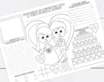 printable kids wedding activity placemat childrens reception coloring colouring page activity sheet instant download kids place