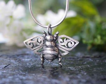 Bee Pendant, Honeybee, Hand Carved in Sterling Silver