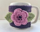 Floral coupe confortable, coupe manche, Mug Cosy, coupe confortable, manchon de tasse, Mug cache-noir - Pure laine - raisin