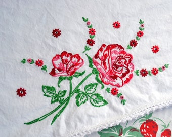 Vintage Pillowcases - Hand Embroidered Red Pink Rose - Standard Size Pair