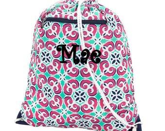 Monogrammed Mia Tile Gym Bag Drawstring Cinch Monogram School PE Personalized
