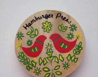 Vintage Wood Hamburger Press