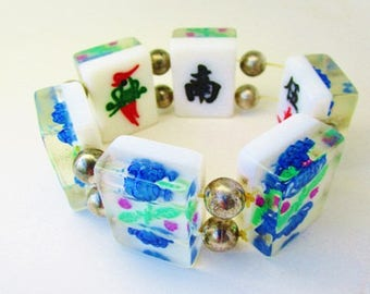 Vintage Reverse Carved Lucite Mahjong Double Sided Cubed Bracelet Cuff Bangle Stretch Silver Beads Blue Flowers Neon Green Fuschia 50 60s