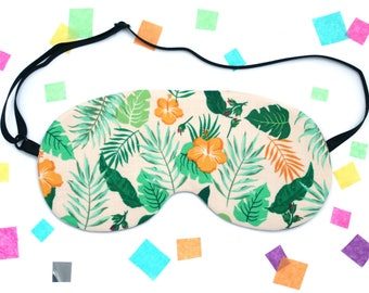 Tropical Leaf Hibiscus Sleep Mask, Eye Mask, Plant Accessory, Palm Leaf, Flowers, Banana Leaf, UK Gift