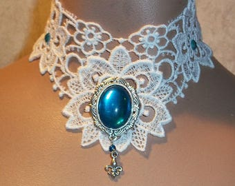 Choker in White Teal Blue Stone Collar Long Back Dangle  Flur de Lis Drop Wearable Art by Medievaltomodern