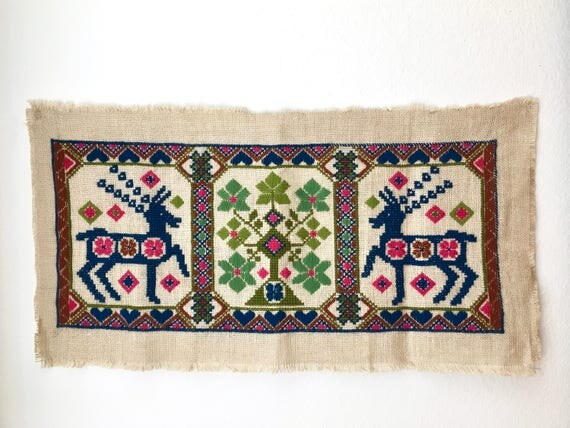 Vintage Large Scandinavian Embroidered Wall Hanging on Burlap