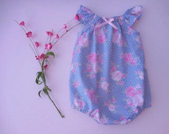 Sunsuit bubble romper playsuit for babies and toddlers blue with white dots with pink flowers