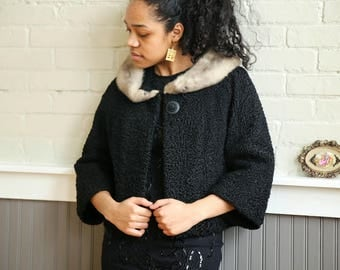 1950s Black Persian Lamb, Cropped Jack with Fur Collar