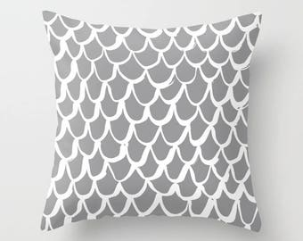 Grey and White Mermaid Throw Pillow . Gray Pillow . Grey Cushion . Mermaid Pillow . Grey Pillow . Cushion 14 16 18 20 inch . Slate Gray
