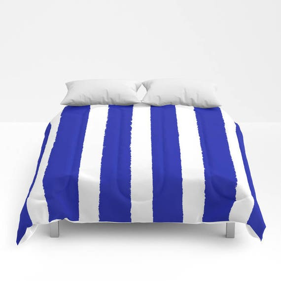 Azure Blue and White Stripe Comforter - Twin Comforter - Queen Comforter - King Comforter - Full Comforter - Twin Comforter Twin XL Bedding