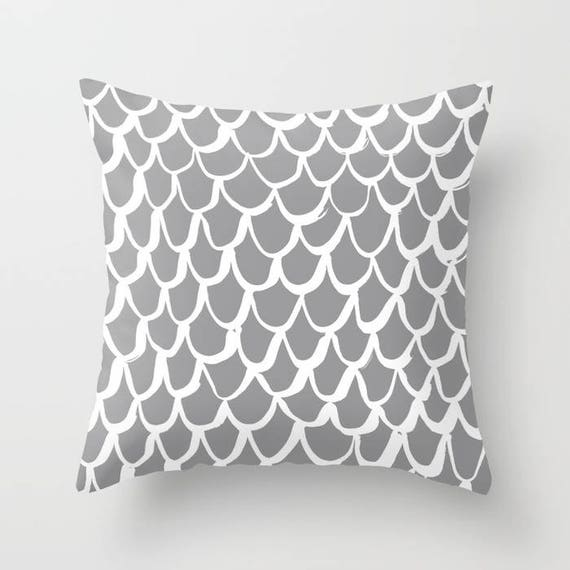 Grey and White Mermaid Throw Pillow - Gray Pillow - Grey Cushion - Mermaid Pillow - Grey Pillow - Cushion 16 18 20 24 inch - Slate Gray