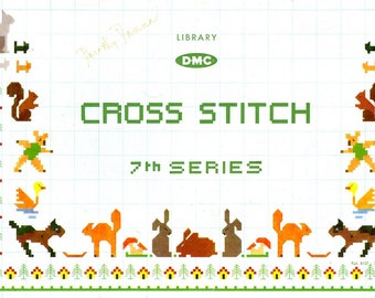 DMC Cross Stitch 7 Animals Birds Toy Soldiers Boats Skiing Snowman Horses hay Wagon Cars Children Counted Embroidery Craft Pattern Book