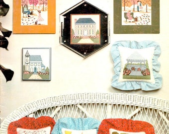 Revelations Houses Gazebo Park Carousel Hanging Flowers Bedroom Living Room Parlor Counted Cross Stitch Embroidery Craft Pattern Leaflet
