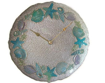 11 Inch Glass Coastal Wall Clock, Silent Glass Plate Clock, Hand Painted Beach House Clock, Unique Wall Clock - 2368