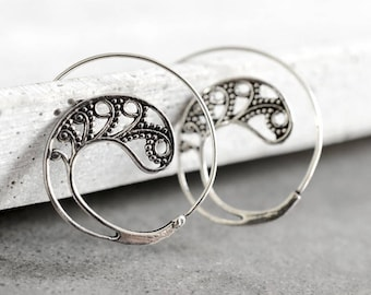 PAISLEY Silver Plated Spiral Earrings