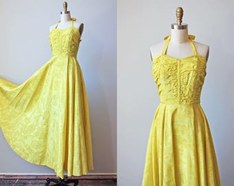 1930s Dress - Vintage 30s Halter Gown - Sweeping Chartreuse Moire Taffeta Old Hollywood Party Dress S - La Grande Dress