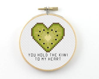 You hold the kiwi to my heart cross stitch pattern, kiwi PDF pattern, funny cross stitch, kiwi cross stitch, heart cross stitch, valentine
