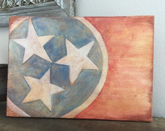 """Tennessee flag painting  - distressed  5"""" x 7"""""""