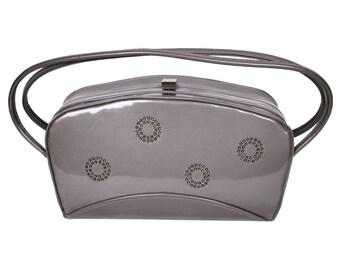 Vintage 1950s Gray Vinyl Purse - Box Purse - Mid-Century Handbag