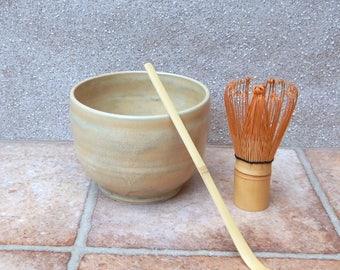Matcha chawan green tea bowl hand thrown in stoneware pottery ceramic handmade wheelthrown