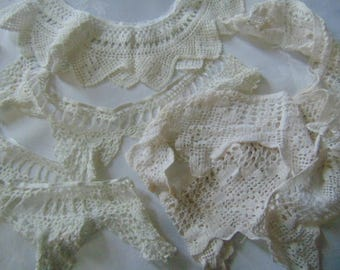 Collection of vintage hand crochet trims sewing restoration