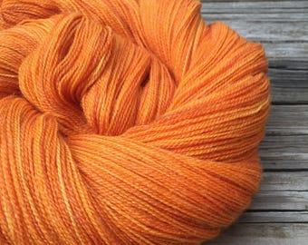 hand dyed lace weight yarn Lusty Wench Silk Treasures Lace yarn orange merino silk yarn pumpkin tangerine mango 875 yards