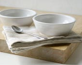 Set of two snack bowls in brilliant white - hand thrown tapas style dishes