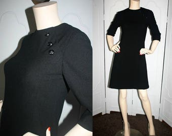 Vintage 1960's Black Wool Dress with Button Detail. Fully Lined. Small.