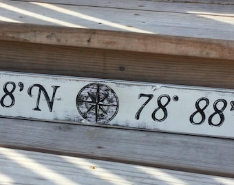 Beach Nautical Custom Sign Latitude and Longitude  Wall Decor Vintage Style Nursery