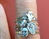 Custom order for court1230.  Set of four Halloween rustic sterling stacking rings - size 8.25