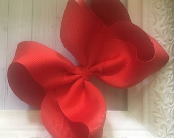 """Classic Apple Red Tomato Fourth of July Extra Large Boutique Hair Bow 2.25"""" Ribbon ~ m2m Matching Matilda Jane The Adventure Begins BIG"""