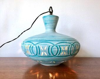 Mid Century Modern Turquoise Ceramic Pendant Lamp - Atomic Pottery Hanging Light - Retro Swag Pendant Lamp