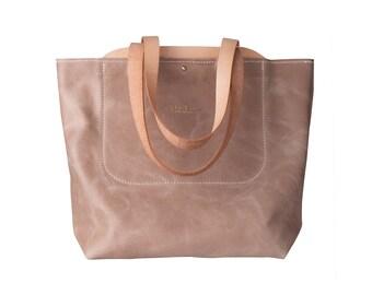 Leather Tote Bag - Shoulder Bag - Everyday Large CarryAll - Shopping Bag - Leather Handbag - Soft Lightweight Leather Bag - Macbook Bag