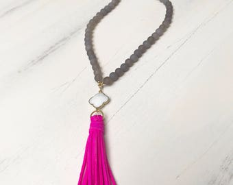 Beaded Tassel Necklace with Grey Agate Beads, White Clover Charm & Hot Pink Suede Tassel