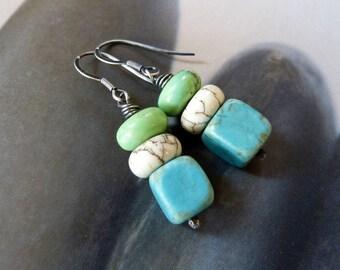 Howlite turquoise earrings, Sterling silver dangle earrings, handmade jewelry, summer earrings, small gift, for sis, for wife, for daughter
