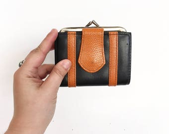 Vintage 1980s Black and Tan Faux Leather Wallet/ Coin Purse