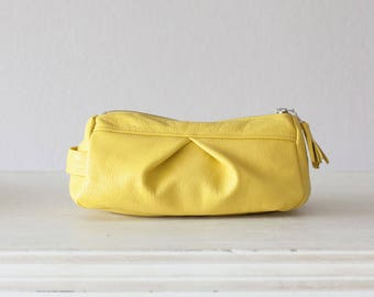 Leather accessory bag in yellow,makeup case,cosmetic bag,vanity storage,pencil case,utility storage,toiletry bag - Estia Bag