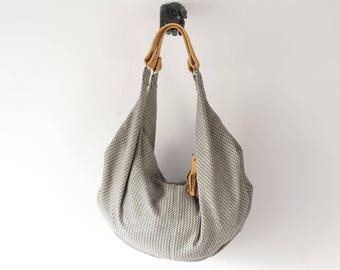 Beige patterned wool hobo bag with light brown leather handles, hobo purse slouchy bag weekend bag gym purse  - Kallia bag
