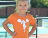 WAREHOUSE SALE Little Cheerleader Nostalgic Graphic Tee in Short Lettuce Sleeves - Orange with White