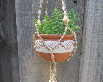 Vintage Shell Plant Hanger and Clay Pot