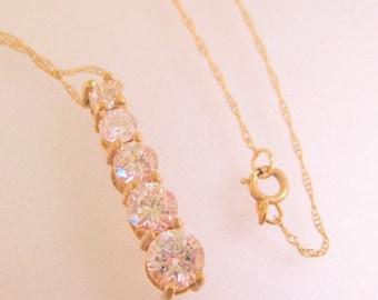 """SHIPS 6/26 w/FREE Jewelry 10k YG Journey 1.3ct Cubic Zirconia Pendant Necklace 18"""" Vintage Jewelry Jewellery"""
