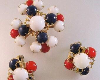 XMAS in JULY SALE 1950's Red White Blue Glass Brooch & Earrings Clip On Vintage Jewelry Jewellery