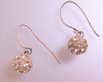 Disco Ball Rhinestone Sterling Silver Earrings Pierced Earrings Drop Earrings Dangle Earrings Vintage Earrings