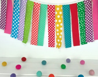 Birthday Garland Bunting Banner Rag Tie Garland RagTie Nursery Decor Photography Prop Rainbow Party Decor Birthday Party Decorations