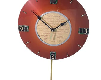 Pendulum Clock from an IBM Vintage Computer Hard Drive Disk Platter from the 1960s. Got Unique Retirement Gift, Office Gift, Company Gift?