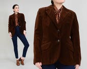 70s Brown Velveteen Blazer | Cotton Velvet Jacket | Tailored Fitted Suit Jacket | size Medium M