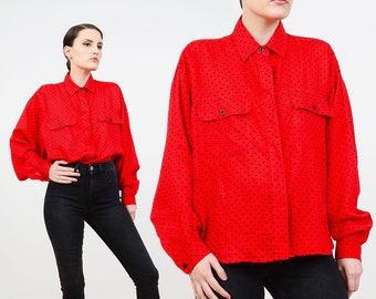 80s Red Blouse | Black Polka Dot Blouse | Draped Long Sleeve Shirt | 1980s Oversize Shirt | Collared Button Down Shirt | Medium M