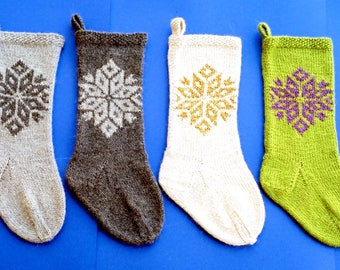 Ann Norling Knitting Pattern #1020 Snowflake Stocking - Quick Knit Christmas Stocking Pattern