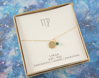 gold zodiac VIRGO necklace, birthday gift, custom personalized, gift for women girl, minimalist, simple necklace, layered